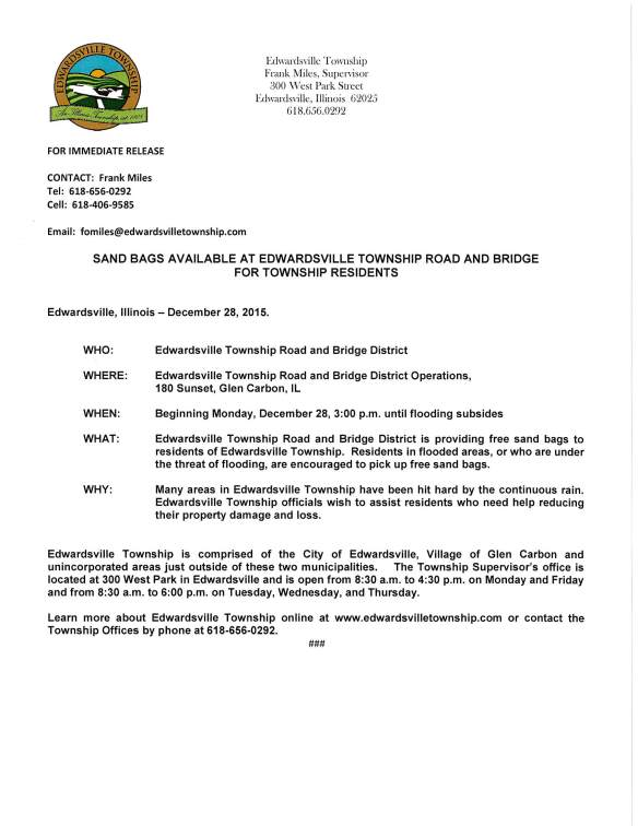Image of Media Alert: Edwardsville Township Road and Bridge will be providing free sand bags to residents in flooded areas, or who are under the threat of flooding; location is 180 Sunset Glen Carbon, IL