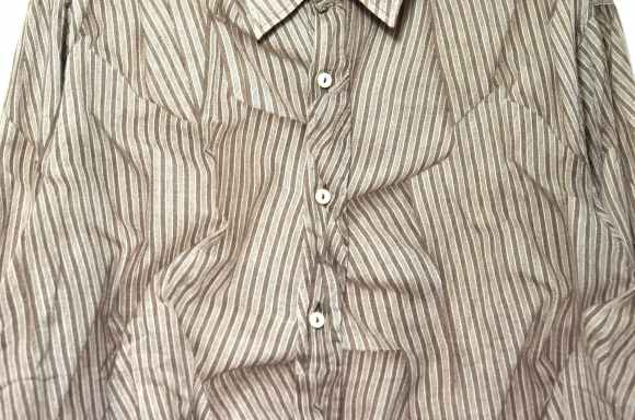 creased stylish shirt with gray stripes and buttoned collar