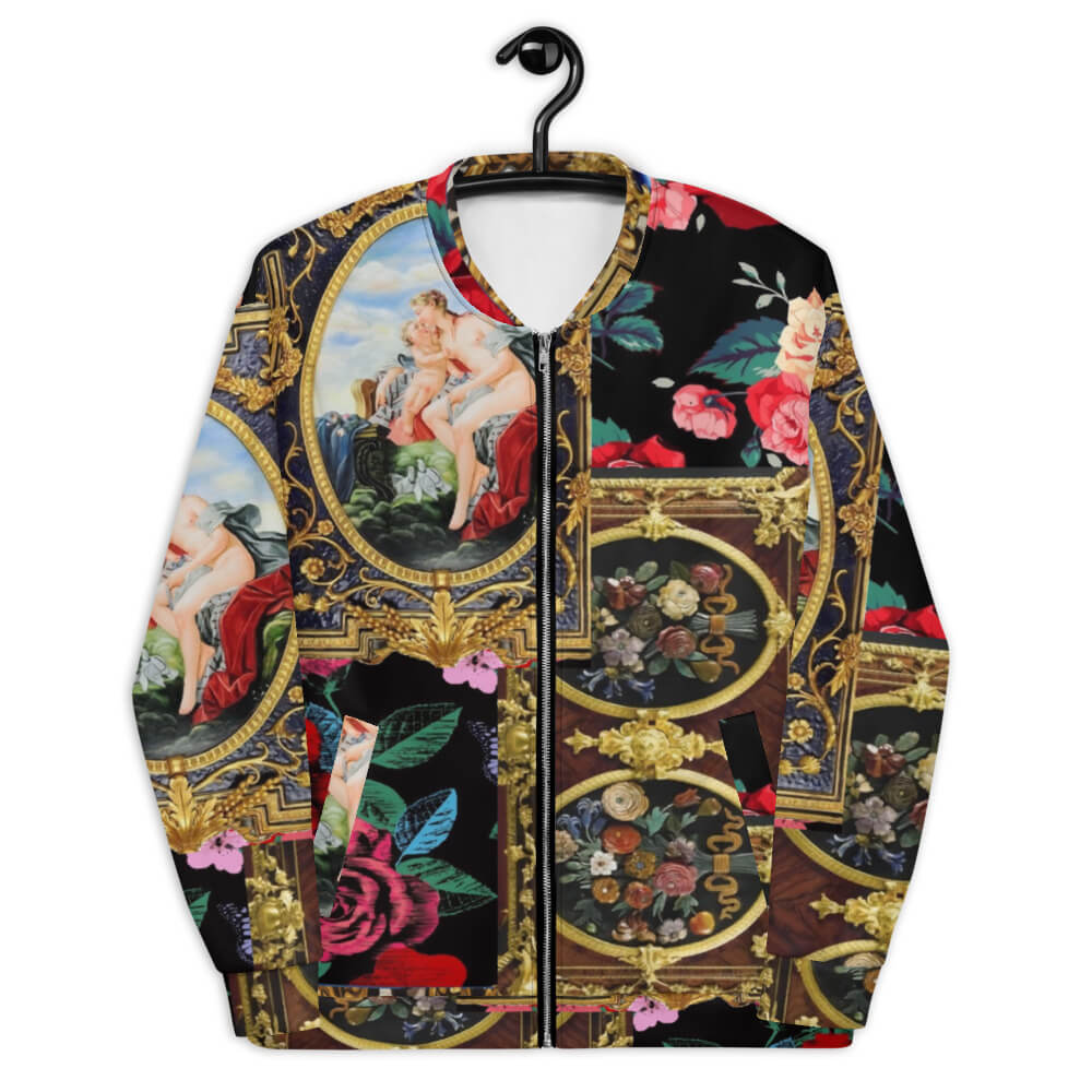 unisex bomber jacket Renaissance art with Golden Arches black with red roses