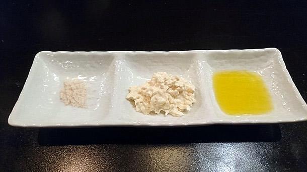 塩、大根タルタルソース、オリーブオイル