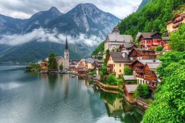 alps austria winter hallstatt estate village corner round ee24 housing upper cost low go