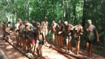 Udder Mud Run: The girls had to use team work to interlock themselves and make it across the logs.