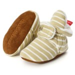 Baby Socks Shoes Boy Girl Stripe Gingham Newborn Toddler First Walkers Booties Cotton Comfort Soft Anti-slip Infant Crib Shoes