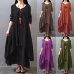 Top Fashion 2019 Autumn Women Casual Loose Long Sleeve Dress Solid Long Maxi Dress Vestidos Plus Size S-5XL