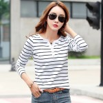 Vogue T Shirt 5XL Women 2019 Summer Top Shirts V-neck Casual tshirt White Striped T-Shirt Plus Size Cotton Tee Femme Clothes #98