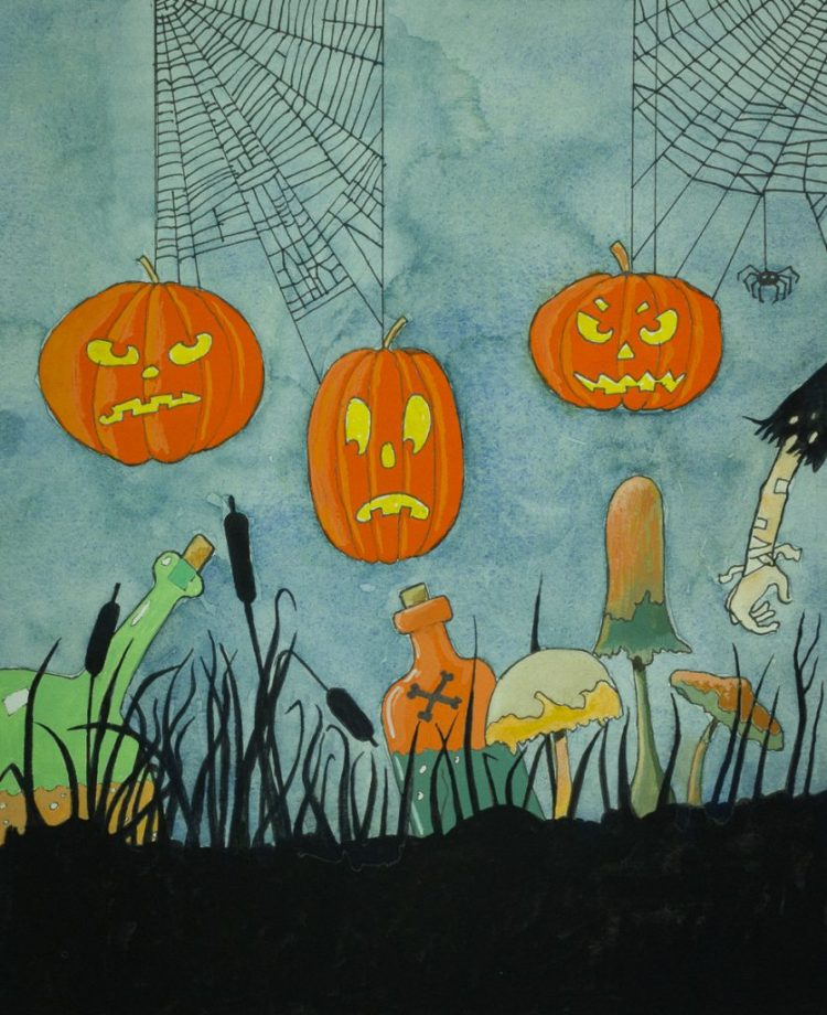 Illustratie met pompoenen, flessen gekleurde vloeistof en spinnenwebben voor Halloween door Eelco Bruinsma.