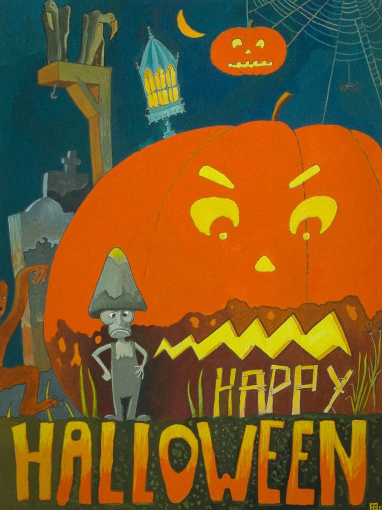 Happy Halloween! Gouache door Eelco Bruinsma, oktober 2017