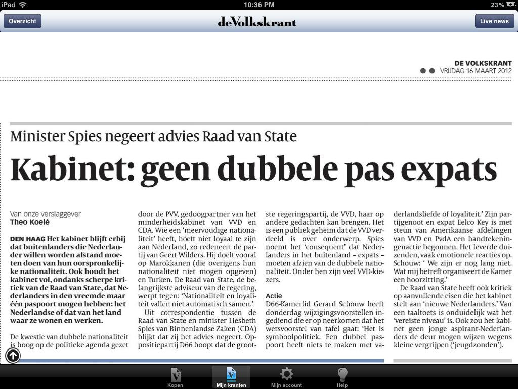 Artikel Volkskrant, vrijdag 16 maart