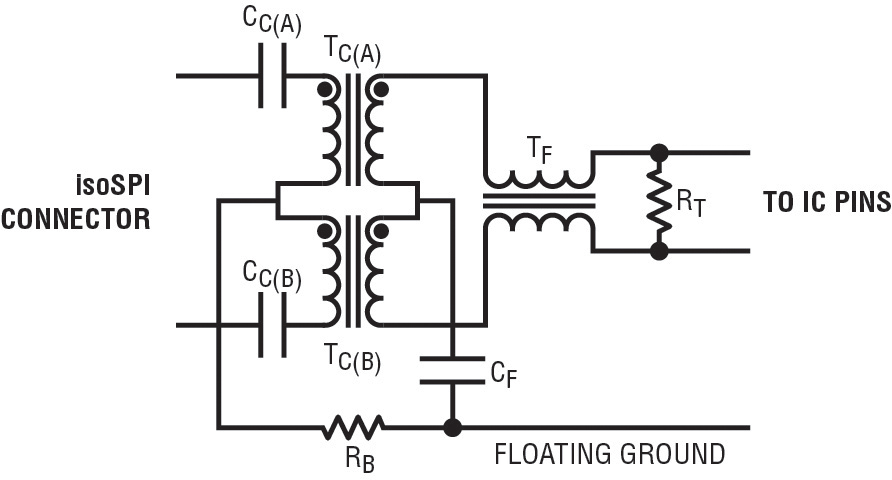 Low-cost isoSPI coupling circuitry for high-voltage, high