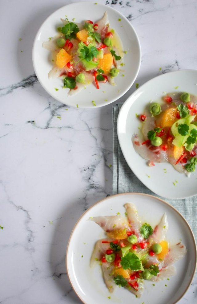 Ceviche van zeebaars met avocado / www.eenlepeltjelekkers.be