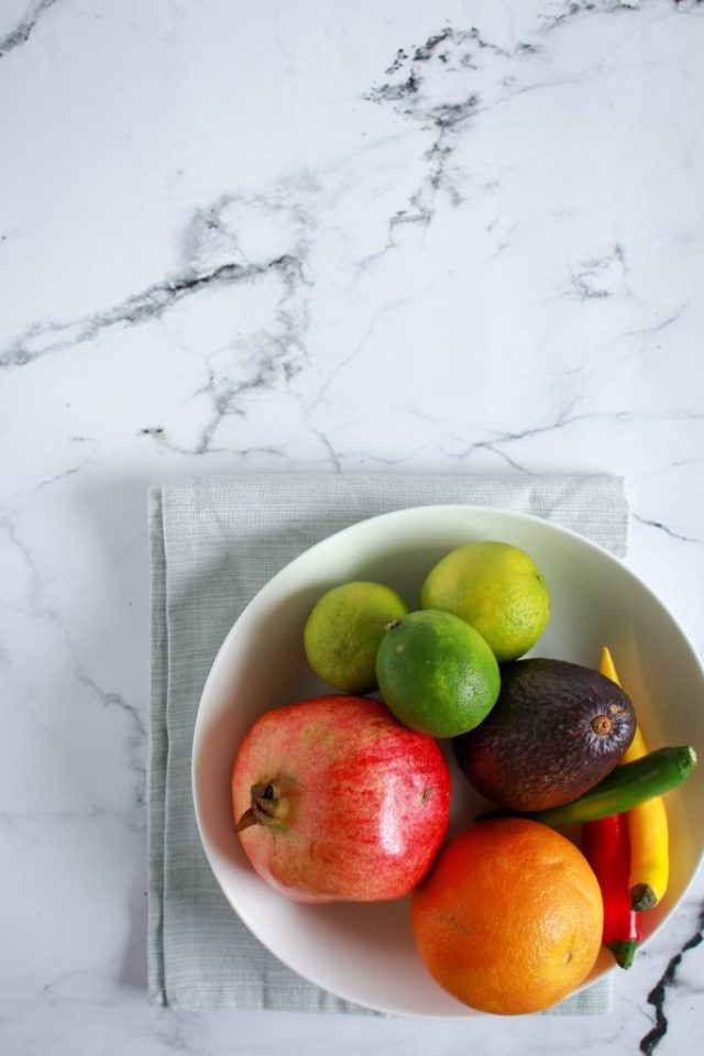 Granaatappel, sinaasappel, limoen en chili / www.eenlepeltjelekkers.be