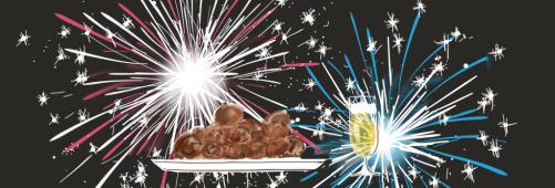 vuurwerk, oliebollen, champagne | Een tafel vol