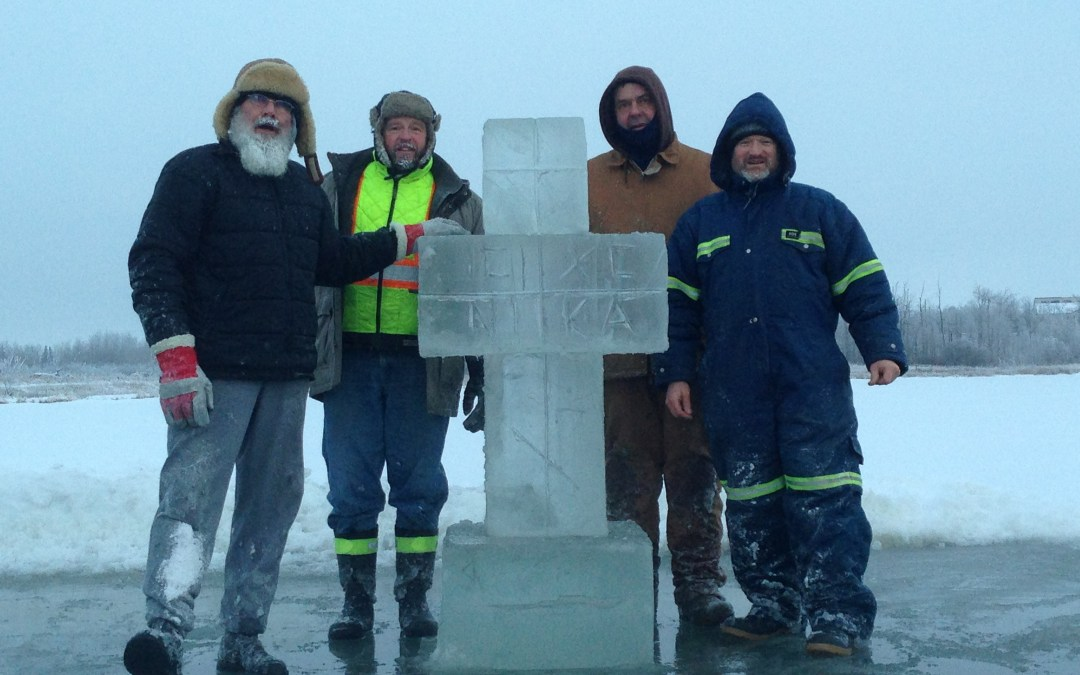 Photos: Making an Ice Cross for the Feast of Theophany