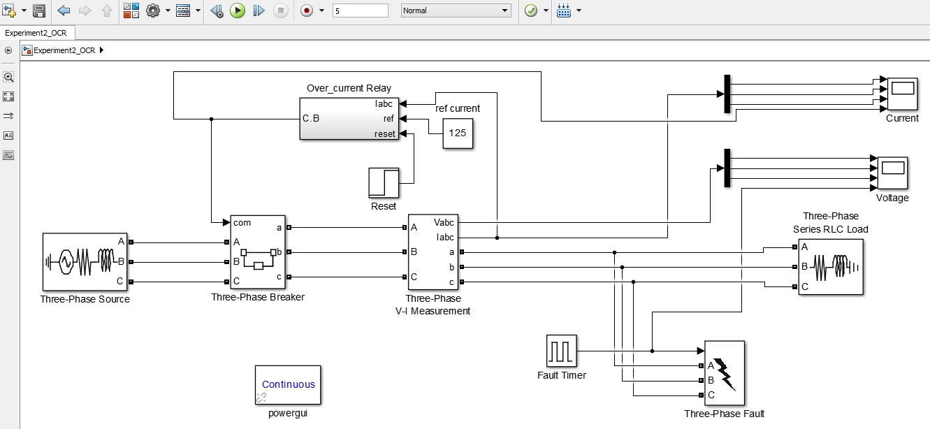 hight resolution of circuit diagram of instantaneous overcurrent relay in simulink