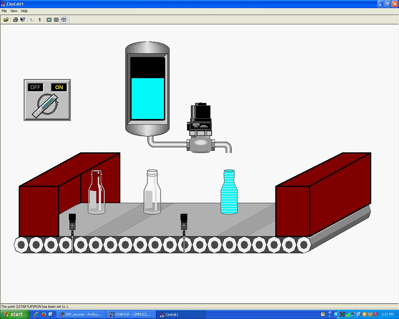 hight resolution of bottle filling scada control screen