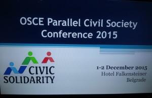 OSCE PARALLEL CIVIL SOCIETY CONFERENCE 2015
