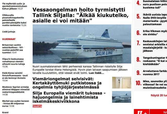 Paanika laeval: Silja Europal ei töötanud vetsud