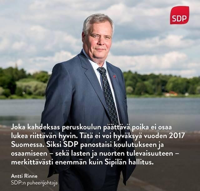 Soome sotside juhiks valiti tagasi Antti Rinne