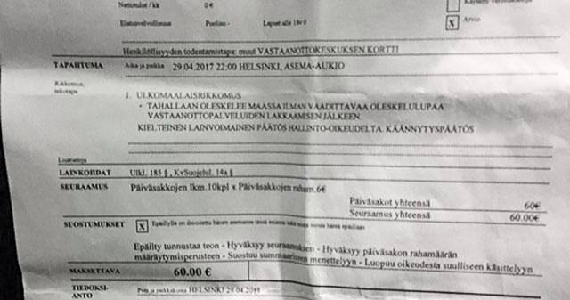 Politsei on hakanud Soomes illegaale trahvima