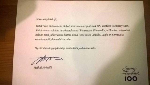 Soome perefirma kingib töötajatele 100. aastapäeva puhul 1000 eurot