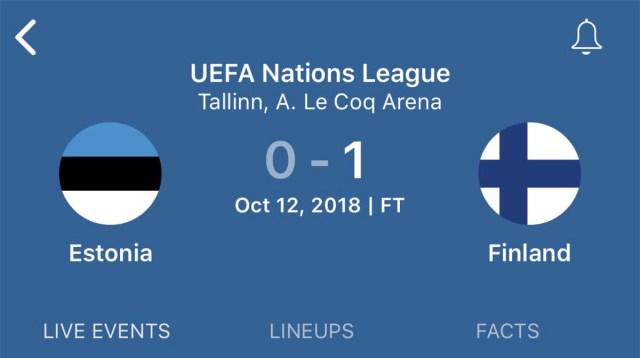 Soome võitis jalgpallis Eestit 1:0