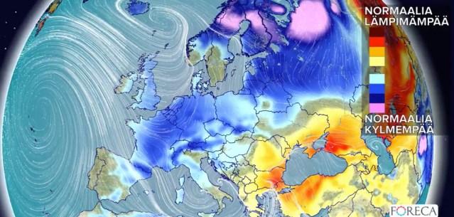 Järgmised kuu aega on Euroopas valdavalt tavapärasest jahedam ilm