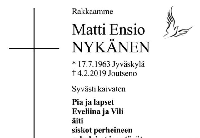 Ajalehes ilmus Matti Nykäneni surmakuulutus, juures liigutav luuletus tema õelt