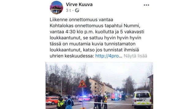 Soome päästekeskus hoiatab õnnetusi kajastavate sotsiaalmeedia petuteadete eest