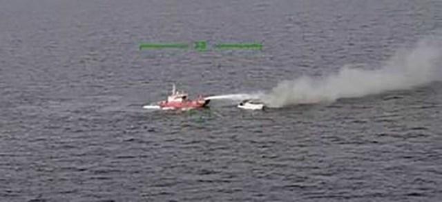 Helsingi ligidal läks merel laev põlema, kolm inimest pääsesid