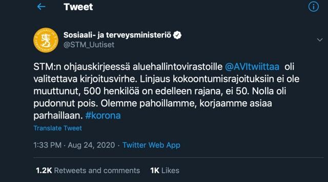 NB! Valehäire! Soome terviseametkonnad panid puusse, ürituste piirang on septembrist jätkuvalt 500, mitte 50