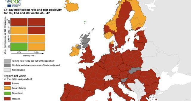 Uus suur Euroopa koroona-ülevaade: Soomest on roheline laik kadunud ja asemele tulnud punane
