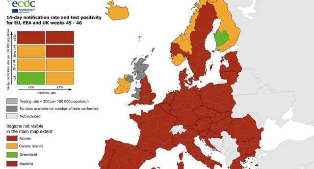 Suur Euroopa koroonakaart ja tabel: Kus on Soome? Kus on Eesti?