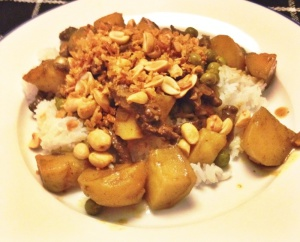 Curry met beef en erwtjes