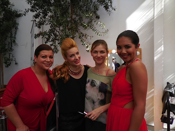 Red carpet ready...Hairstylist Brittany, model Sita, make up artist Alisia and model Claire