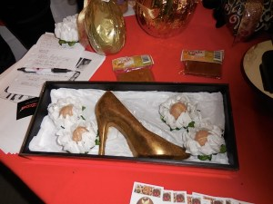 Solid gold stiletto...Glamour Bonbonier's gold stiletto heel chocolate!