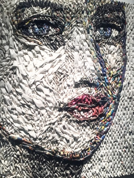 "Gugger Petter's ""Female Head"" created by using newspaper and hemp. Photo courtesy of Judy Hansen Pullos"