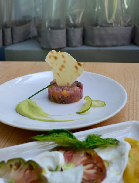 Incredibly fresh tuna tartare and Caprese starters