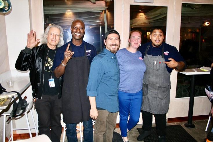 Publisher of the Experience Magazine, Erwin Glaub (left) with the Sweetfin Poké team ~ Chef Makhtar Diop (Westwood), Stephen Valdez (Westwood), Ashley Bohan (Topanga)and Christian Alquiza (Santa Monica). Photo courtesy Dustin Brown