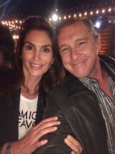 Cindy Crawford(L) with journalist and photographer, Dustin Brown(R). Photo courtesy the Experience Magazine