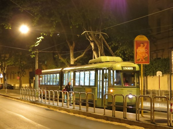 A late night tram in Rome, Italy