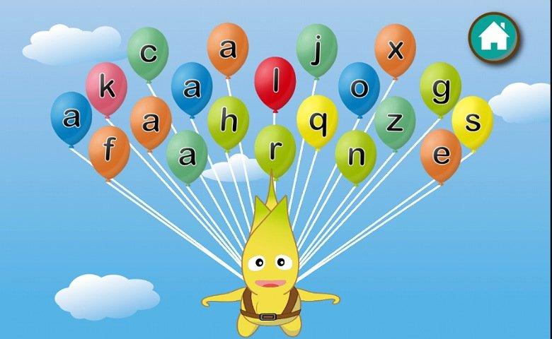 英語教育アプリABC Goo Bee:同じアルファベットが書かれたバルーンを探す