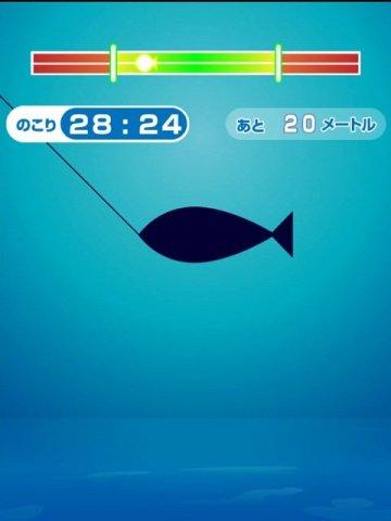 ふつうの釣りゲームのプレイ画面