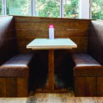 fixed seating leather booths