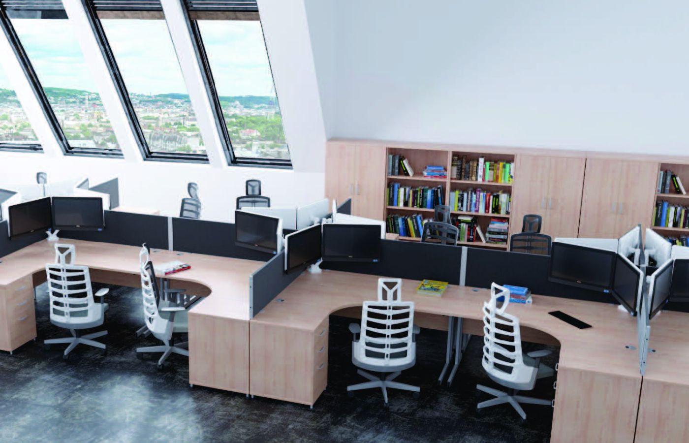 wooden seating area multiple desks