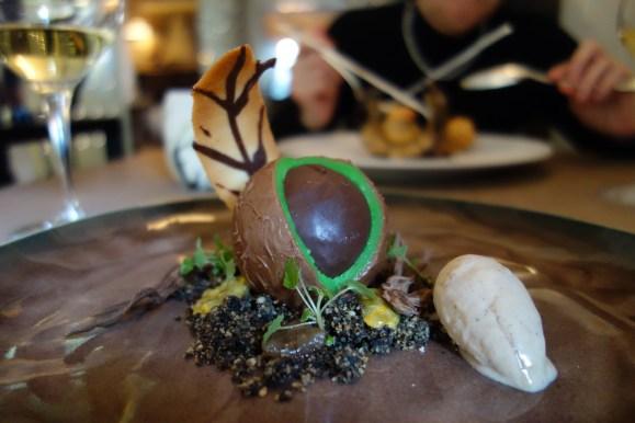 marron, coeur mangue passion, crème glacée mont blanc au restaurant la mare aux oiseaux d'Eric Guérin