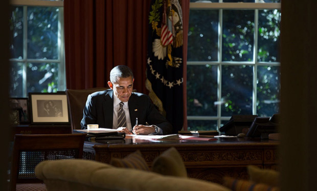 President Obama signs five cybersecurity bills. (White House file photo)