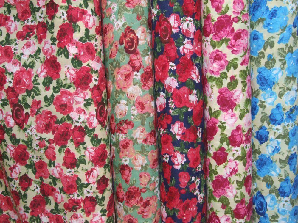 Large Rose Print Polycotton Fabric