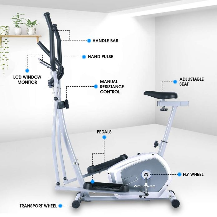 Welcare WC6044 Elliptical Cross Trainer with Hand Pulse Sensor & LCD Monitor