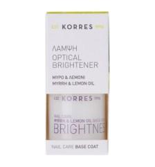 Korres Nail Care Base Coat Brightener / Λάμψη Μύρο & Λεμόνι 10ml (λευκή και φωτεινή όψη στα νύχια)