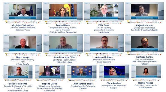 """Panel completo de la primera Conferencia Europea StepbyWater, """"El valor del agua en el pacto verde europeo"""". CEDIDA"""